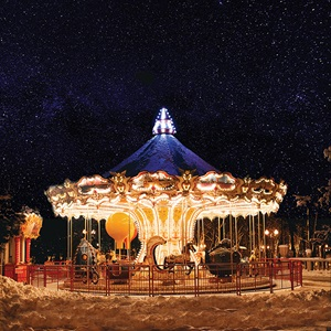 carousel lit up at night